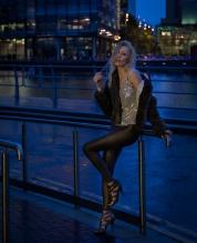 Zara Watson, night shoot at Salford Quays