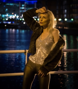 Zara Watson, night shoot at Salford Quays